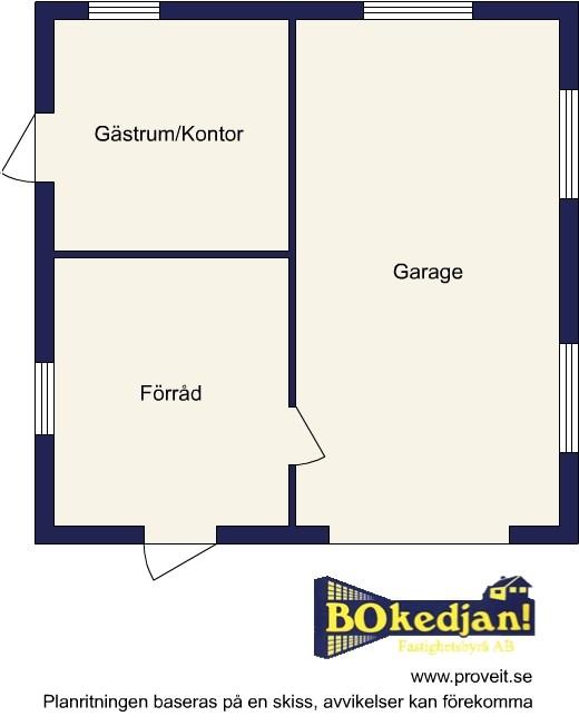 Planritning garage med förråd och gästrum/kontor